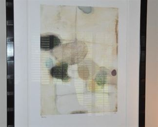 """Matted and framed abstract art, signed """"Bailey"""" A/P. 32"""" x 41"""""""
