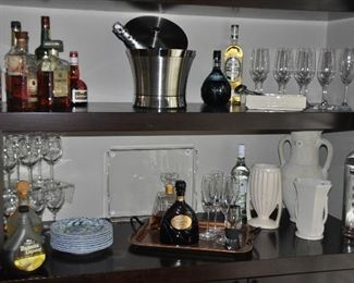Stainless steel ice bucket, bar ware, copper tray, cream pottery and serving items.
