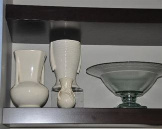 More creme ware vases and footed glass bowl.