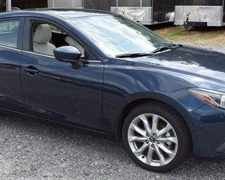At 8PM: 2015 Mazda3 Hatchback Estate Auto, with 8,013 Miles; Midnight Blue Metallic Exterior, Gray/Black Sport Leather Interior; Power Everything; Remote Keyless Entry & Push Start/Stop; Navigation Screen; Heated Seats; Dual Climate Controls; Power Sunroof; SkyActiv Technology, and much more!  VIN: JM1BM1M3XF1263767 Vehicle Terms: - Vehicles are sold AS IS, in AS FOUND/ESTATE condition. - Minimum of 10% deposit due on day of auction (Cash, Check, VISA, MC, or Debit). - Balance paid in full by Thursday following (Cash or Certified Bank Check ONLY).