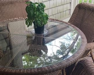 Patio table with 4 chairs, 2 additional chairs with a side table also available by Bay Harbor - all season wicker