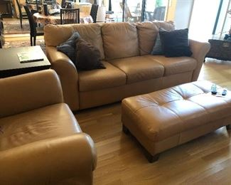 High-end leather sofa and ottoman and 2 chairs available