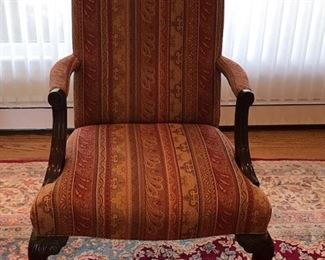 arm chair with turned mahogany legs