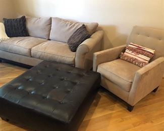Loveseat, chair and large leather ottoman