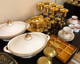 China and 14k plated glassware