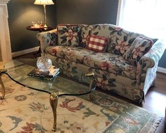 LARGE AREA RUG, BRASS AND GLASS COFFEE TABLE, SIDE TABLE,  LAMP AND 2-SEATER COUCH - EXCELLENT CONDITION