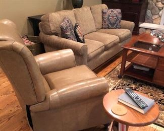 Ethan Allen couch (matching set of 2),  large coffee square coffee table, sofa table, leather recliner, lamp, area rug and side table