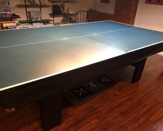 BRUNSWICK POOL TABLE WITH PING-PONG PIANO TOPPER