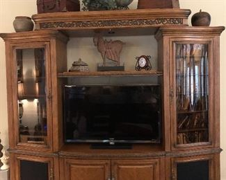 Magnificent entertainment center will hold 55 inch tv