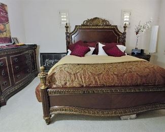 Queen bed and dresser along with the comforter and linens for sale.