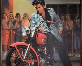 Elvis on motorcycle art