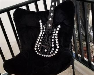 Decorative studded diamond black guitar