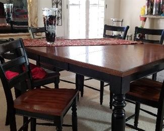 High top dining table and 6 chairs
