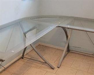 Glass and metal corner desk. Beautiful!