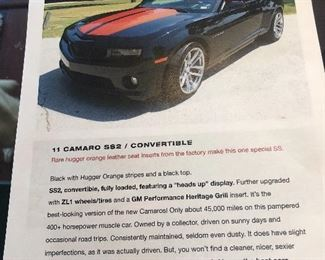 2011 Camaro S82 SS Convertible, pictures coming soon! This is the actual car! Pre sale can be shown before the sale starts!