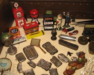 Tin litho banks and toys, sterling silver match safes, bronze medals & medallions