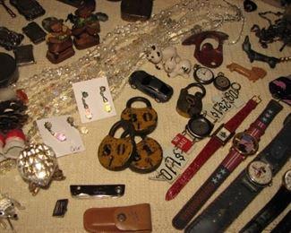 vintage padlocks, knives, wrist watches, corkscrews