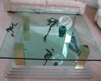 Mirrored glass top table