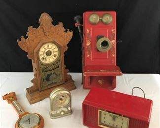 Antique  Vintage Clocks and Wall Phone