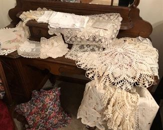 Hand made laces, tatting, and hand towels