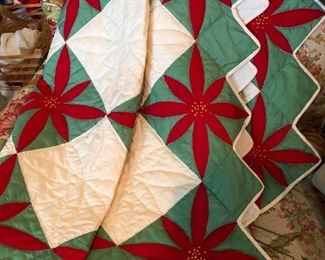Handmade Christmas quilt would make a great throw on the sofa during the holidays!!