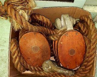 Huge antique wooden pulleys,  tackle