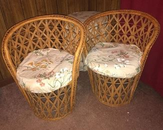 Straw barrel chairs
