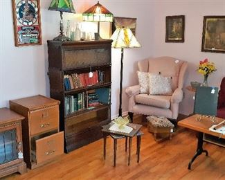 barrister book case, glass lamps, arm chair