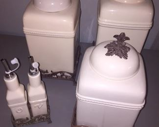 cream ceramic canisters