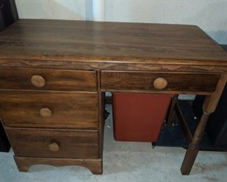 $20  Wood desk with round knobs
