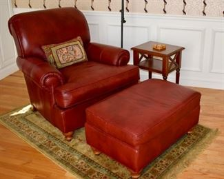 Ethan Allen red leather chair and ottoman