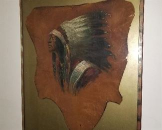 Painting of Indian on Cowhide