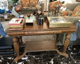 Solid oak antique library table