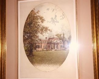 "signed Joseph Eidenberger etching of ""Monticello"""