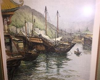 "early signed etching by Liugi Kasimir of ""Hong Kong Harbor"""