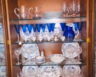Blue Danube china and many pieces of Waterford crystal stemware