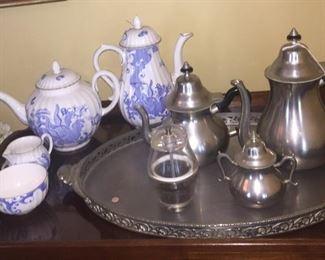 Martha Washington style pewter tea service