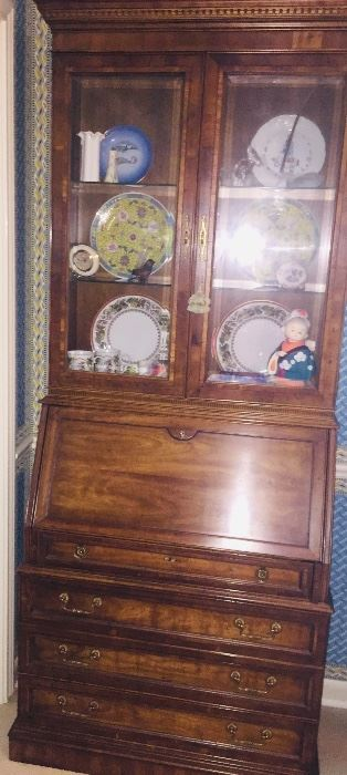 drop front small secretary with glassed in bookcase