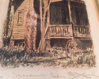 """artist signed print titled """"Mandeville Cabin"""""""
