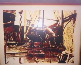 "framed and signed print of an  oil well driller ""Drilling IV"""