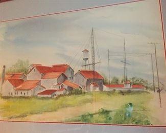 fabulous original watercolor of Billeaud Sugar Mill