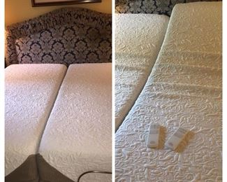 Sealy Split King like new bed with upholstered headboard and matching spread