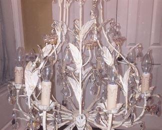 Vintage metal and crystal chandelier