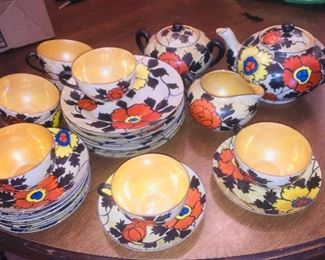 Pre war hand painted Japanese tea set for eight
