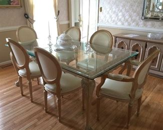 Pennsylvania Dining Table and 6 French Style Chairs