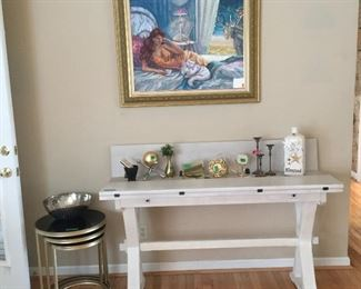 Very Cool Versatile Console / Sofa Table that converts to dining Table