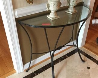 Glass and Metal Demi Lune Table