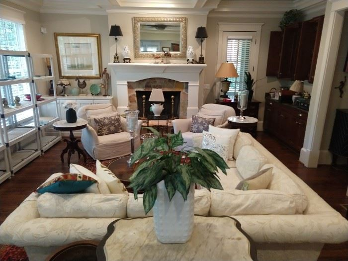 Living room full of goodies! Like new sectional sofa, by Perfection Furn. Co., Hickory, NC., PAIR of linen armchairs, by Verellen (Conceived in Belgium, perfected in America) pair of mahogany end tables, w/white marble tops, etc.