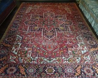 "Stunning hand woven vintage Persian Heriz rug, 100% wool face, measures 9' 3"" x 12' 6""."