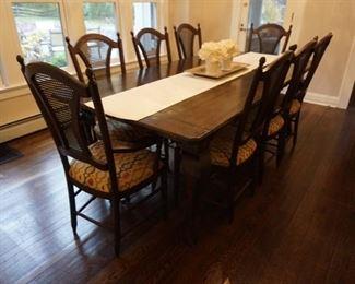 Farm Table with 8 custom chairs